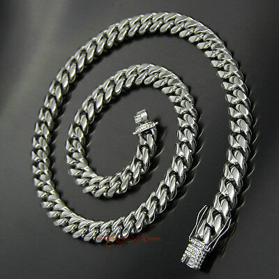 Bling Hip Hop Chain Miami Cuban Necklace Unisex Silver Stainless Steel CZ Clasp