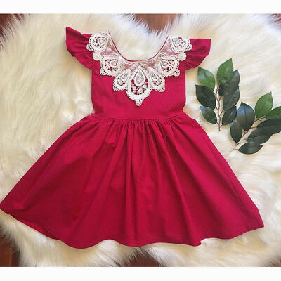 AU Stock Cute Kids Baby Girls Lace Clothes Cotton Party Prom Princess Tutu Dress