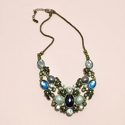 Black Crystal And Pearl Rose Statement Necklace With Antique Brass Chain