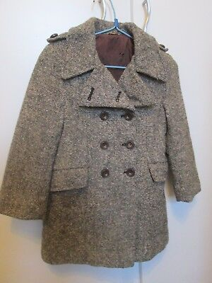 Childs Retro/Vintage  1970s Traditional Tweed Coat  approx age 2 to 3 yrs.