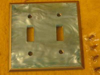 MID CENTURY Vintage  Switchplate Switch Covers 2 GANG NOS TURQUOISE AQUA  SWIRL