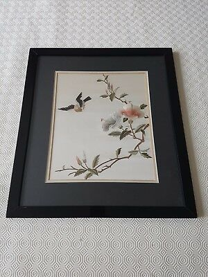 Vintage Chinese Framed Silk Embroidered Print Painting Wall Hanging