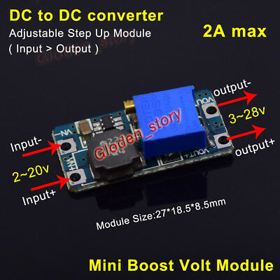 2A Mini DC-DC Boost Step up Adjustable Converter 2-20V to 3-28V 5V 6V 9V 12V 24V