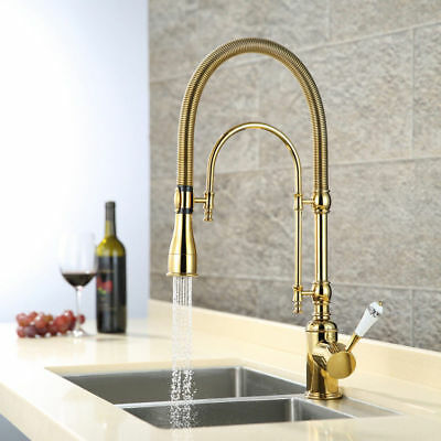 Classic High Arc Swiveling Porcelain Lever Dual-Mode Pull Out Kitchen Mixer Tap
