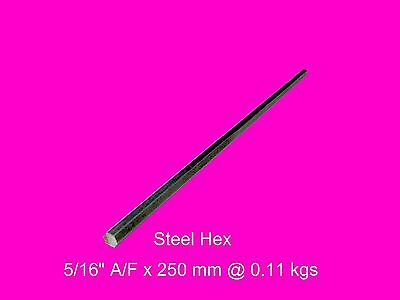 "Steel Hex 5/16"" A/F x 250 mm-Lengths-Lathe-Mill-Steam-OG"