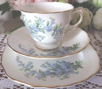 ROYAL VALE Forget Me Not China CUP SAUCER PLATE Trio Tea Set