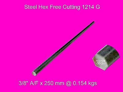 "Steel Hex  3/8"" A/F x 250 mm-Lengths-Lathe-Mill-Steam-OG"