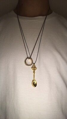 Gold Plated Spoon Necklace Pendant Lucky Charm Festival