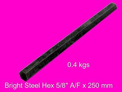 "Steel Hex  5/8"" A/F x 250 mm-Lengths-Lathe-Mill-Steam-OG"