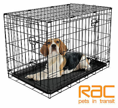 RAC Fold Flat Metal Dog Crate - Large 91 x 61 x 68cm