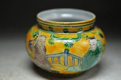 Exquisite Chinese Colorful Porcelain Hand Painted Children Pot Ad8