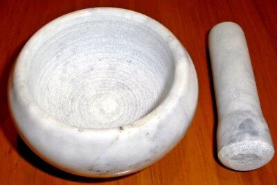 MORTAR AND PESTLE SET White Grey Marble Small Herbs Spices Garlic Chili