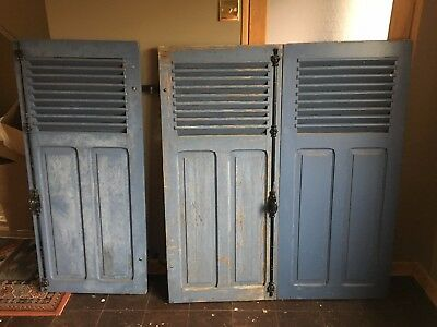 Trio Of Blue French Antique Rustic Louvre Wooden Shutters