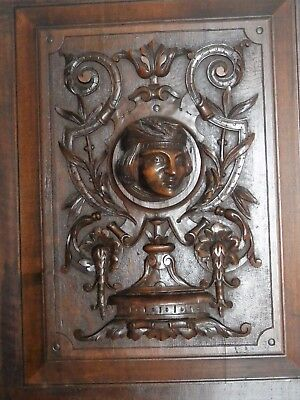 antique french carved architectural panel door wood gentleman N°1