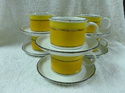 """Vtg Midwinter Stonehenge """"Sun"""" Set Of 6 Cups And 6 Saucers - Made in England"""