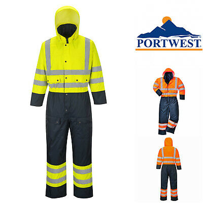 Portwest Hi Vis Waterproof Portwest Thermal Contrast Boiler Suit Coverall S485