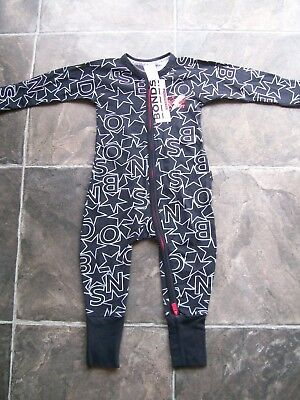 BNWT Baby's Unisex Bonds Black Christmas Zip Wondersuit/Coverall/Sleeper Size 0