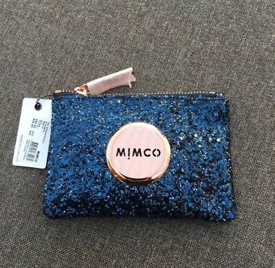 Mimco Sparks Prussian Blue Glitter Small Pouch Wallet • Express Delivery