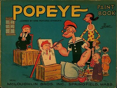Rare 1932 McLoughlin Brothers Popeye The Sailorman Paint Book Sic Coloring Book