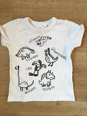 T-shirt Next 6-9 Months Dinosaurs Baby Boy T-Rex Cartoon Drawing Black