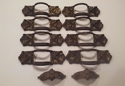 SET of 10 Vintage ART DECO Metal & Celluloid  Drawer Handles and Hardware