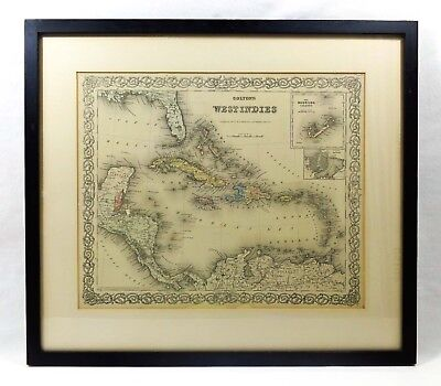 Antique 19Th C J. H. Colton & Co 1855 Orig Hand-Colored West Indies Map, Framed