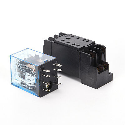 24V DC 5A coil power relay MY2NJ HH52P-L 8 pins 2P2T DPDT with socket base TH