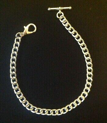 Brand new silver coloured Albert pocket watch chain with clasp and t-bar