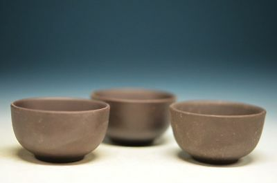 3Pcs Delicate Chinese YingXing-ZiSha handwork carved cup AA9 Zw