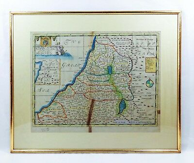 Rare 18Th C Map Land Of Canaan Holy Land Israel/palestine 1738 By E. Wells (Uk)