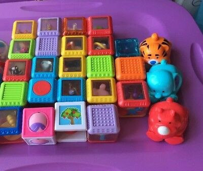 Lot Of 23 Fisher Price Blocks 8 Balls And 3 Ball Animals Tub 15