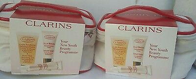 2×4 PC Clarins Your New Youth Beauty Programme Gift Set- Beauty Bag
