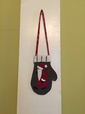 Santa Open Top Hanging Mitten Punch Needle