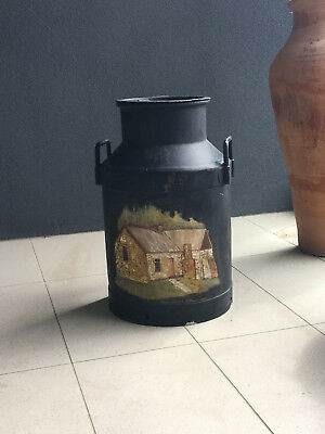 Vintage Metal Sunrise Milk Can with Lid & Henry Kendall Cottage painted RANDWICK