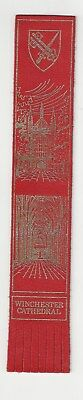 Winchester Cathedral. Red Leather English Bookmark
