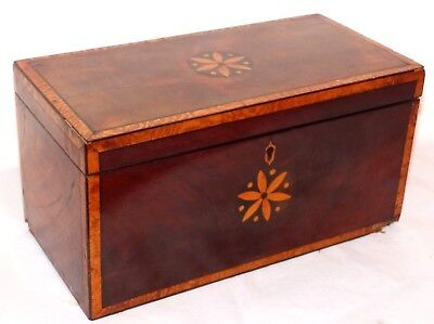 Unusual Antique Georgian Mahogany / Satinwood Inlaid Tea Caddy / Casket