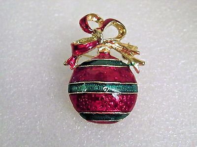 Vintage Multi-Color Enamel Inlay Gold Plated Shinny Christmas Ornament Brooch