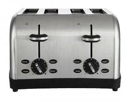 4-Slot Kitchen Chrome Toaster Commercial Grade Bread Restaurant Automatic Easy