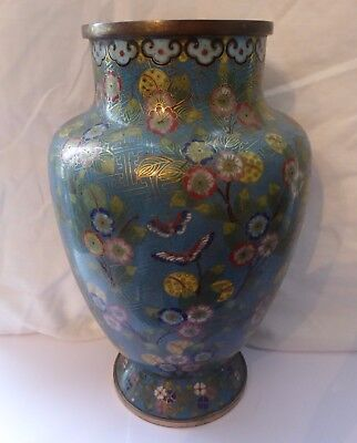 Oriental Chinese Cloisonne vase, qing period, turquoise floral butterfly.