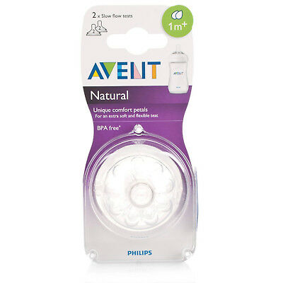 Philips AVENT Natural Soft silicone teat suitable Slow Flow BPA-free Pack of 2