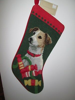 Jack Russell Terrier  Dog Needlepoint Christmas Stocking NWT - Last One