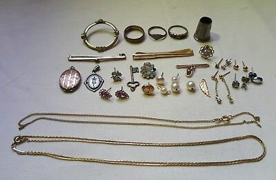 Joblot Of Scrap Gold/silver/gold Plated/rolled Gold & Costume Jewellery