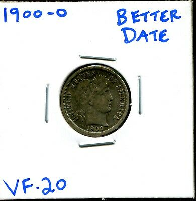 1900-O 10C Barber Dime in VF Very Fine Condition Better Date Coin