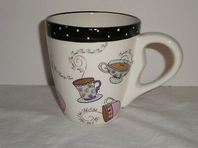 Bella Casa by Ganz Time for Tea Mug 12 oz with tea bag holder