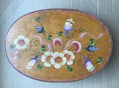 """Antique Vintage Shaker Covered Oval Pantry Painted Wood Spice Box 10.5"""" Length"""