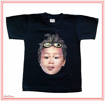 """Boys Or Girls 28"""" Chest 5-6 Years Black """"pierced Baby"""" T Shirt By Baby Grace."""
