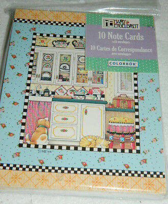 10 Mary Engelbreit Note Cards w Envelopes Kitchen Teapots Cat Dog New in Pack