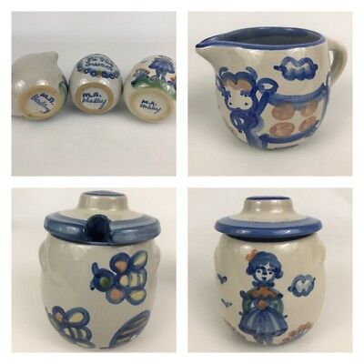 Lot Of 3 M.A. Hadley Blue Honey Creamer Sugar Bowl Country Scene Pattern Pottery