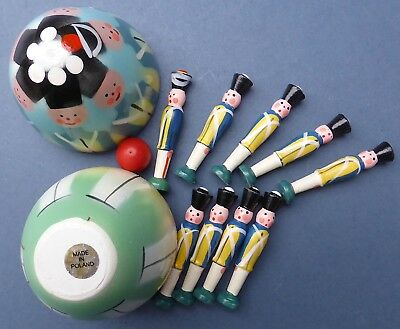 Set Charming Vintage Style Painted Mini Wooden Skittles Soldiers + Egg Shape Box