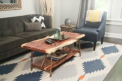 """Rustic Hand Made Cedar Wood Coffee Table With Copper Pipe Legs 48"""" x 23"""" Unique"""